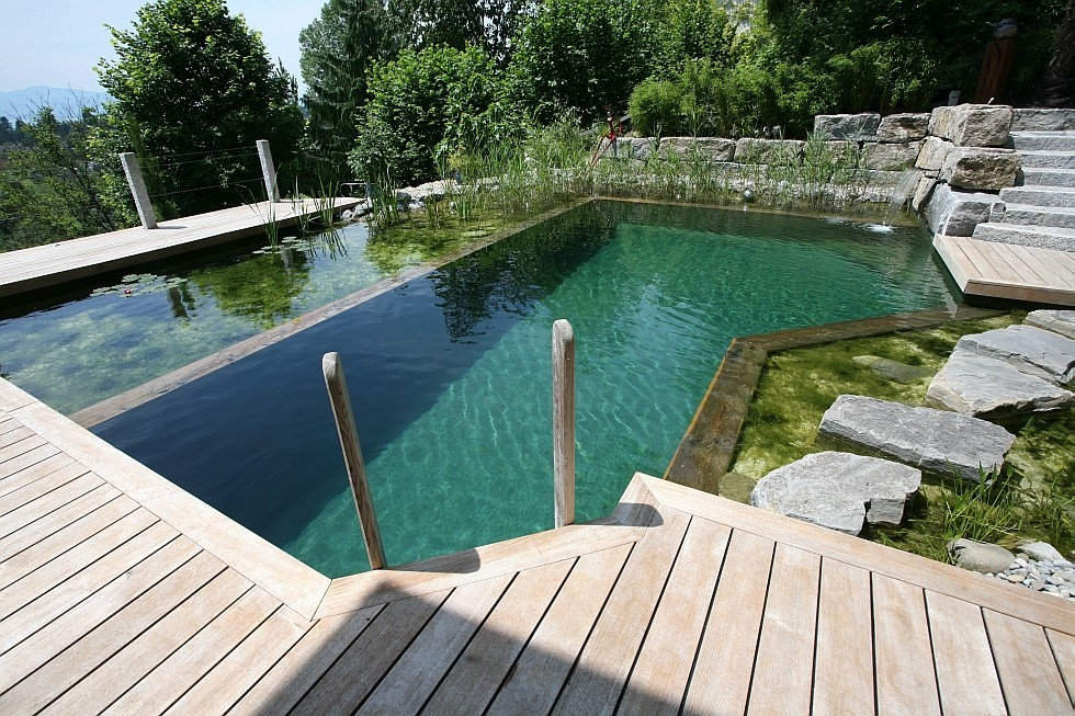 natural pool in extreme hillside location