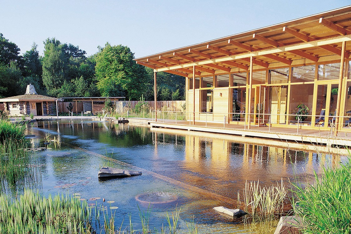 natural pool in germany with sauna
